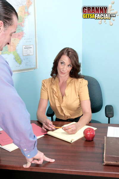 Hot mature teacher Mimi Moore seduces her co-worker in the classroom